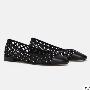 Zara woven ballet flats with sparkly details